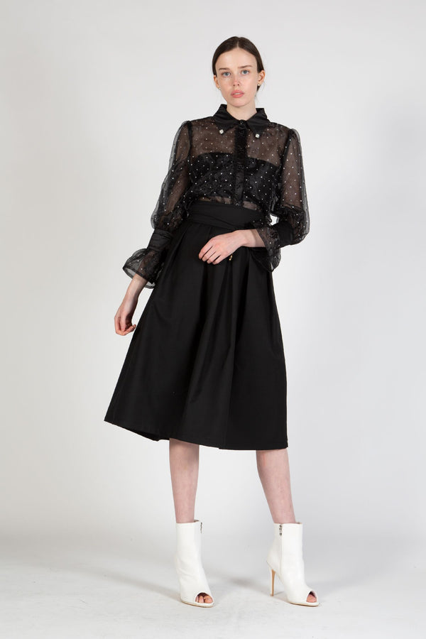 Belted Pleated Midi Skirt - Shop Beulah Style