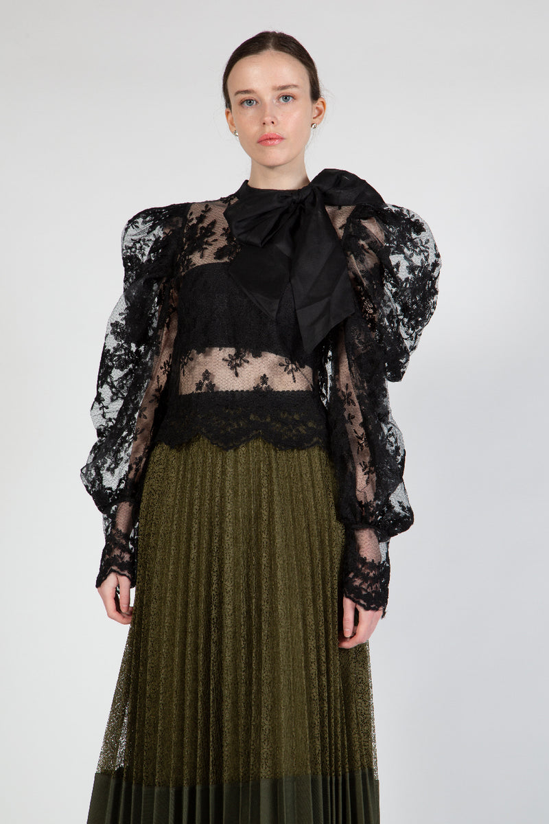 Lace Top with Oversized Bow