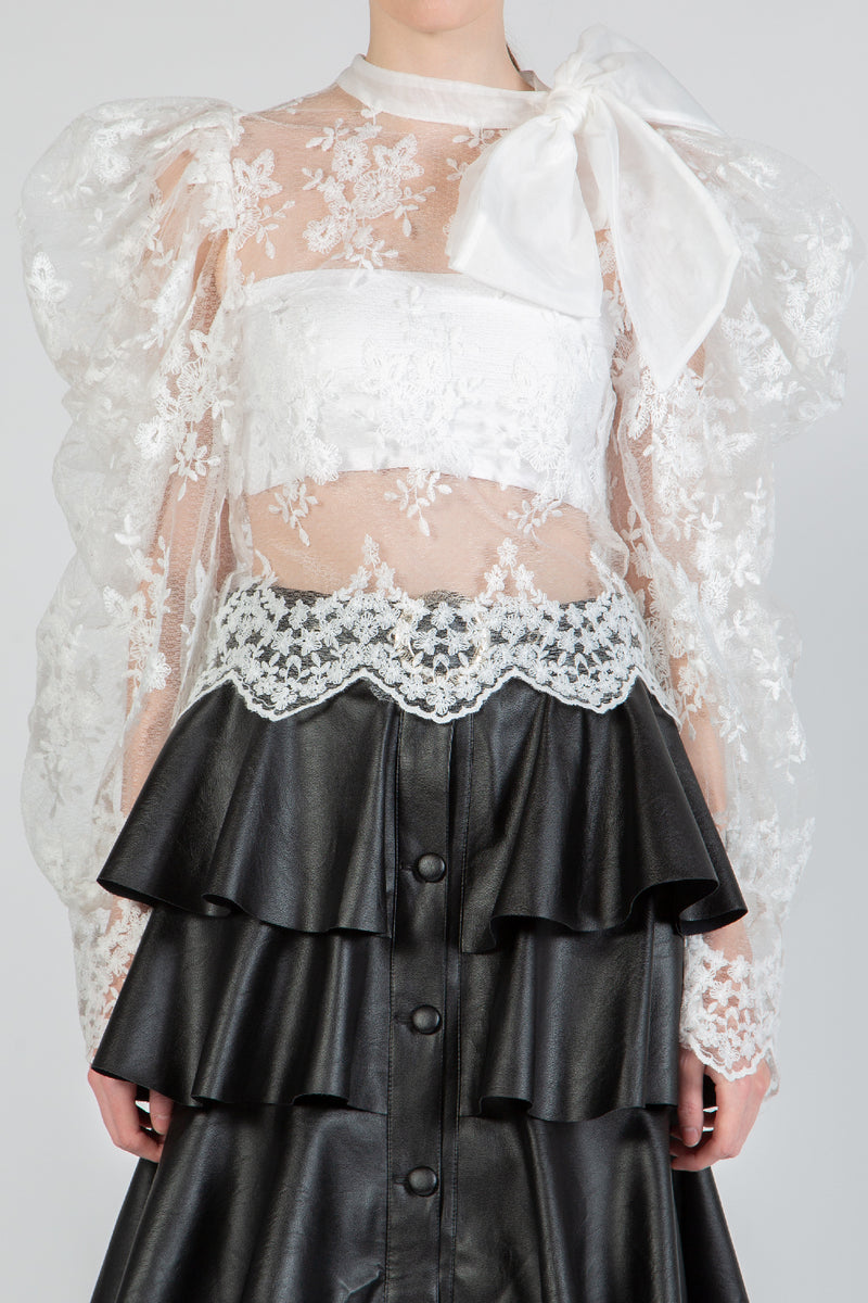Lace Top with Oversized Bow - Shop Beulah Style