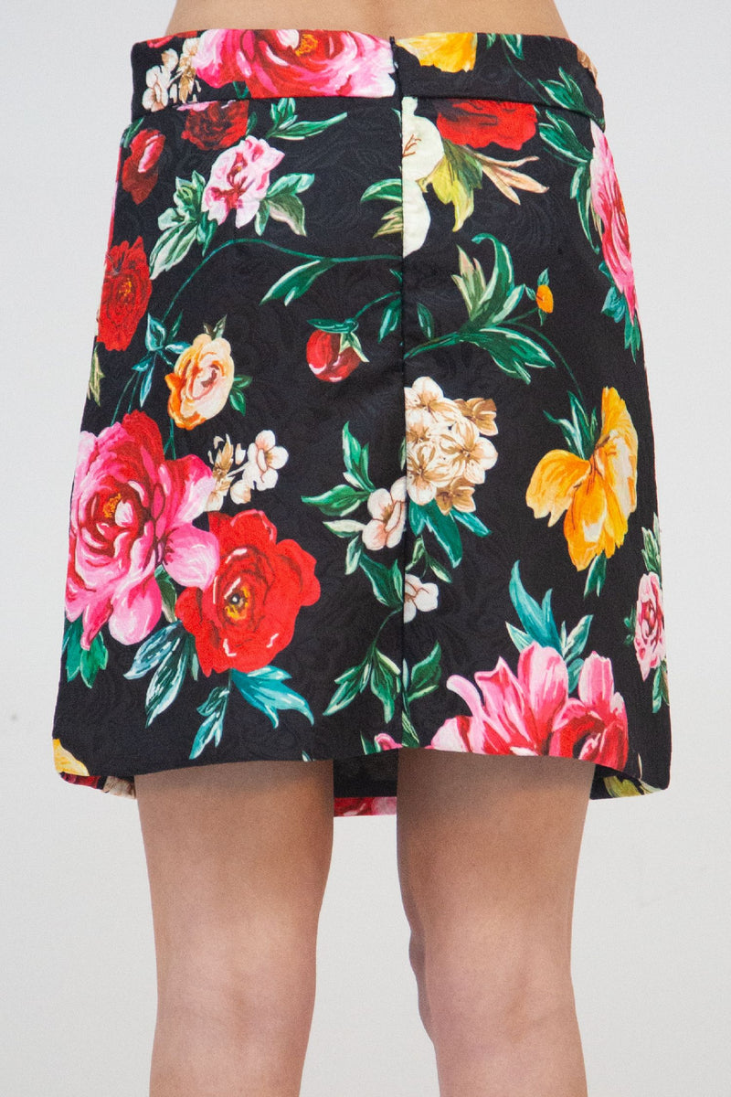 Floral Jacquard Mini Skirt - Shop Beulah Style
