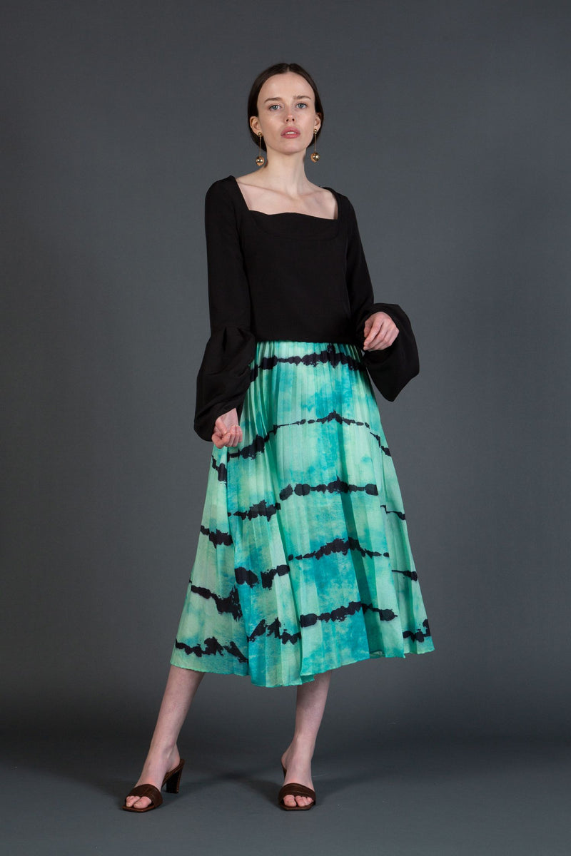 Tie-Dye Pleated Midi Skirt - Shop Beulah Style