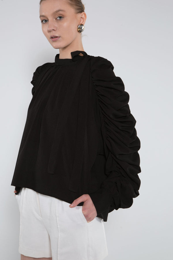 Ruched Blouse with Bow Tie - Shop Beulah Style
