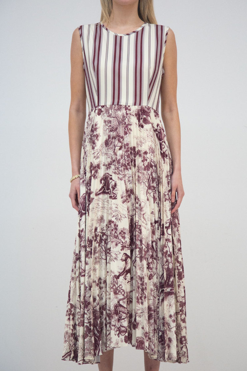 Sleeveless Landscape Print Dress