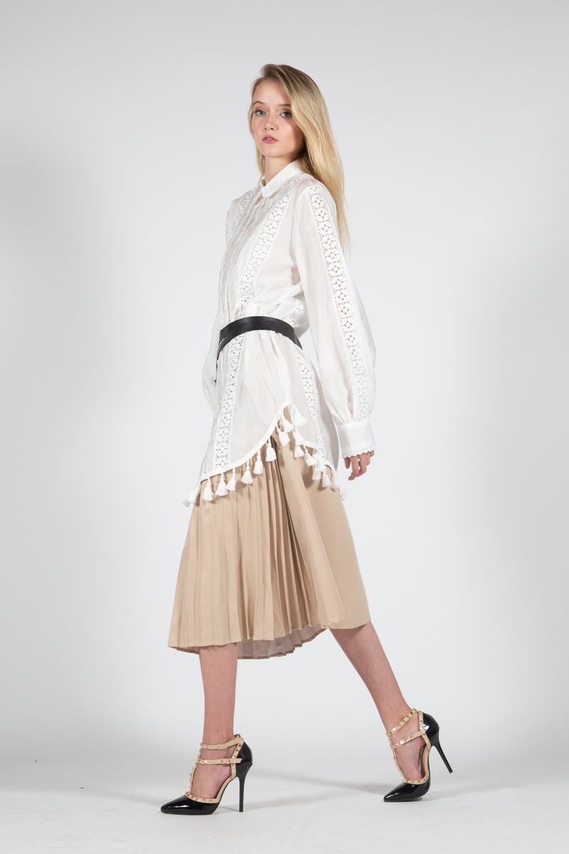 Knee Length Pleated Skirt with O-ring Belt - Shop Beulah Style