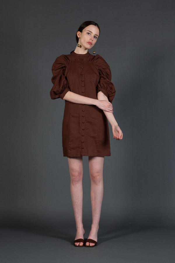 Woven Mini Dress with Shirred Raglan Sleeves