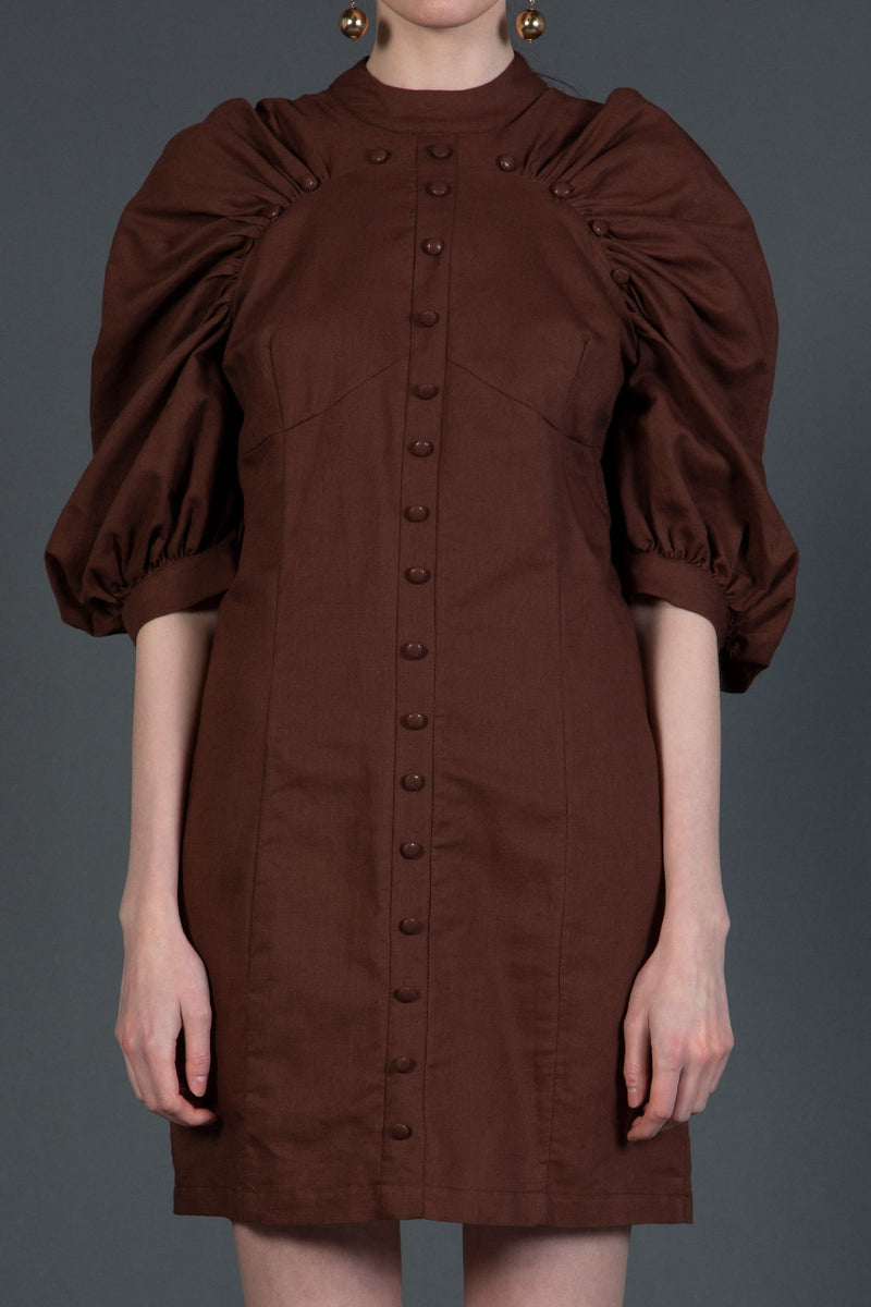 Woven Mini Dress with Shirred Raglan Sleeves - Shop Beulah Style