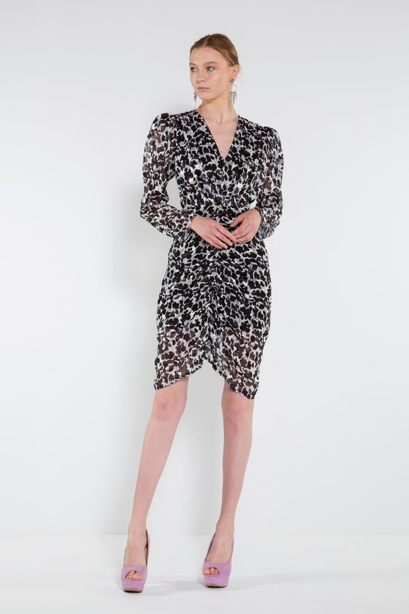 Ruching Down Knee Length Dress - Shop Beulah Style