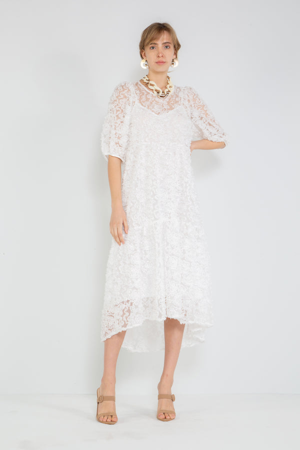 Floral Detail Sheer Midi Dress - Shop Beulah Style