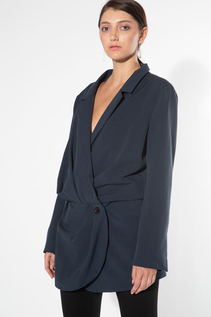 Single Button Notch Collar Jacket - Shop Beulah Style