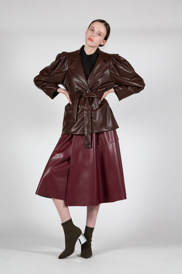 Notch Collar Jacket Made of Vegan Leather - Shop Beulah Style