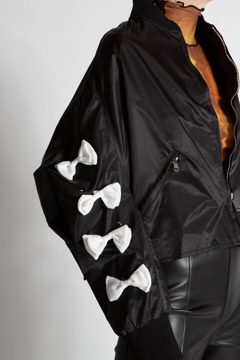 Bow Sleeves Bomber Jacket