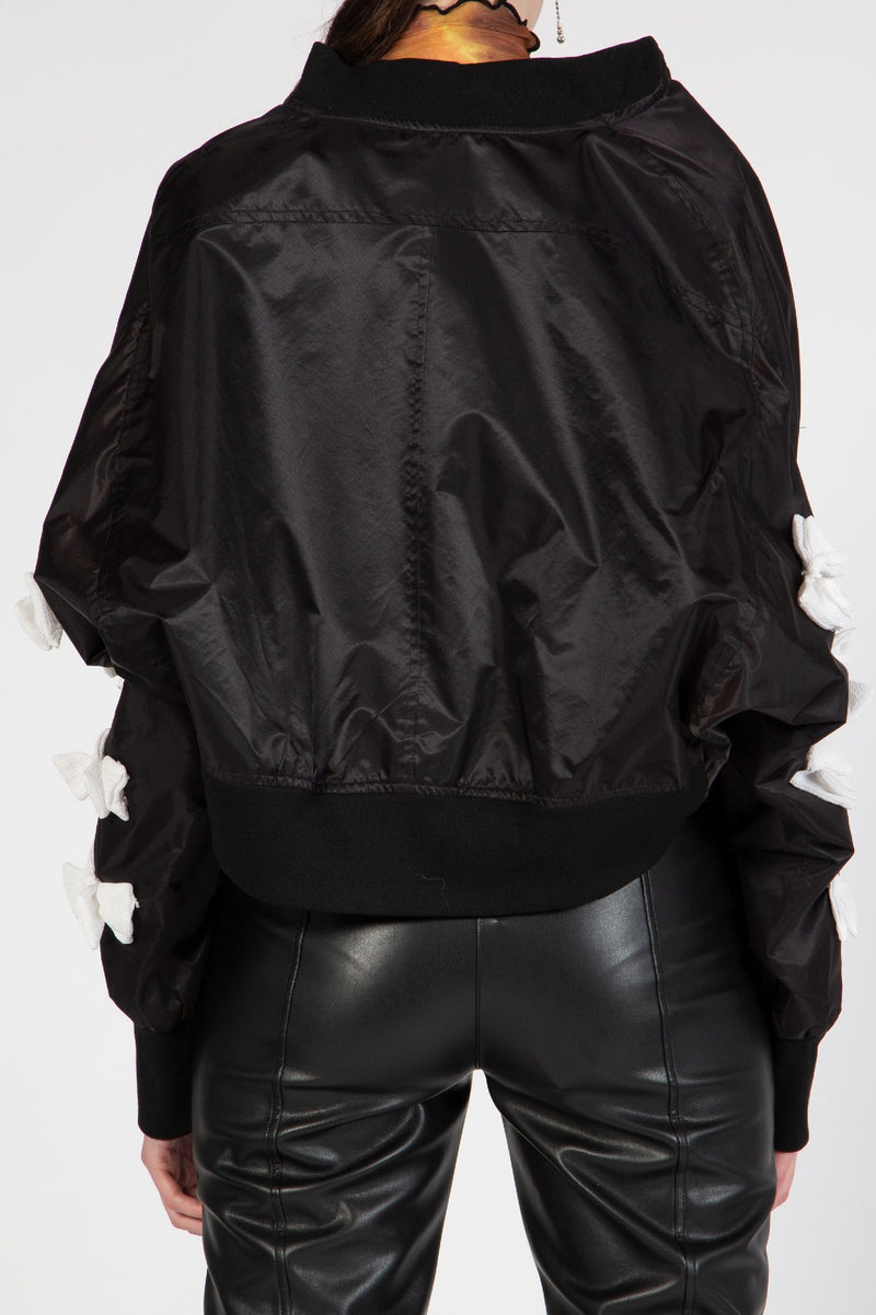 Bow Sleeves Bomber Jacket - Shop Beulah Style