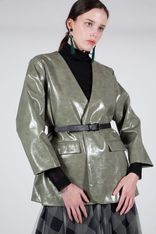 Belted Vegan Leather Jacket - Shop Beulah Style