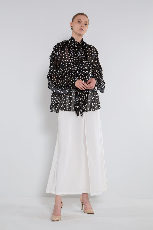 Bow Tie Frilled Printed Blouse - Shop Beulah Style