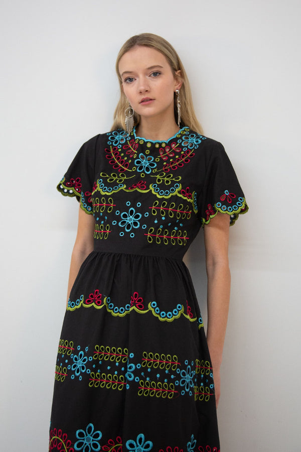 Maxi Broderie Short Sleeve Dress - Shop Beulah Style