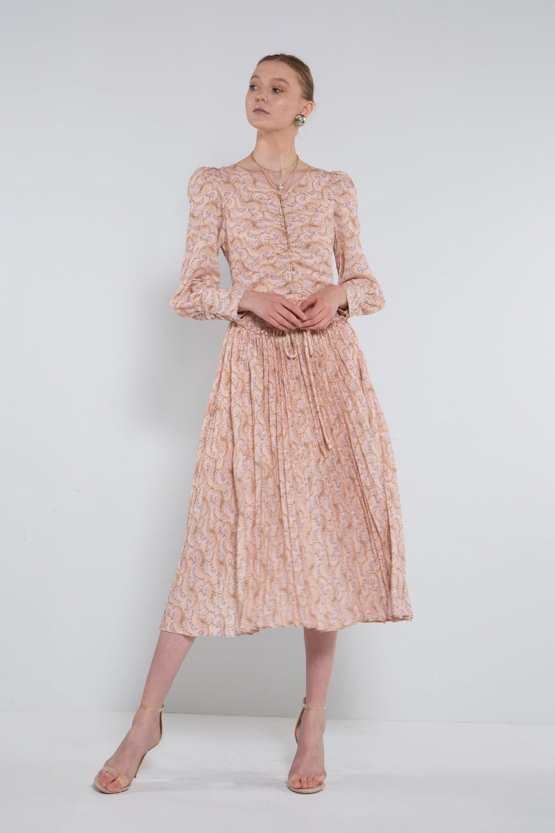 Bishop Sleeves Shirring Down Pleated Dress - Shop Beulah Style