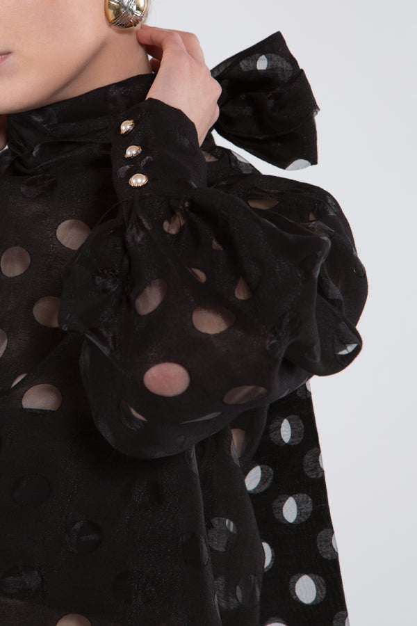 Polka Dot Bow Neckline Top