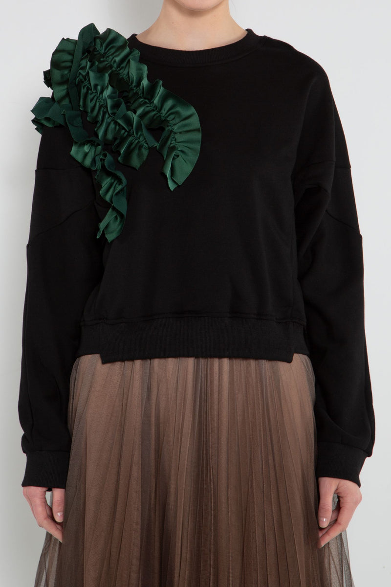 Ruffled Detail Sweatshirt - Shop Beulah Style