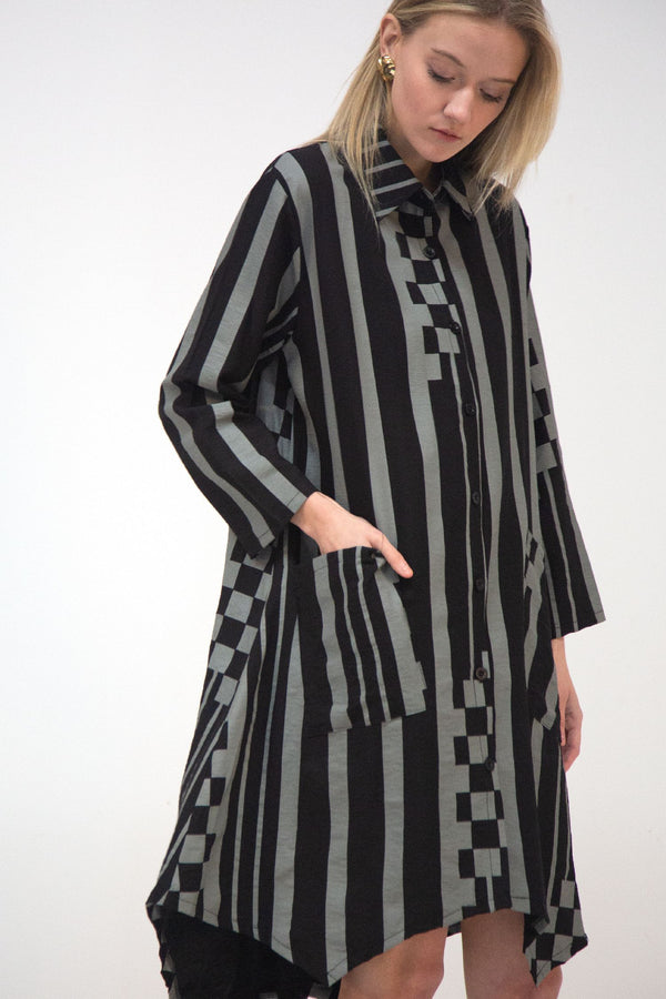 Button Down Oversized Stripe Dress