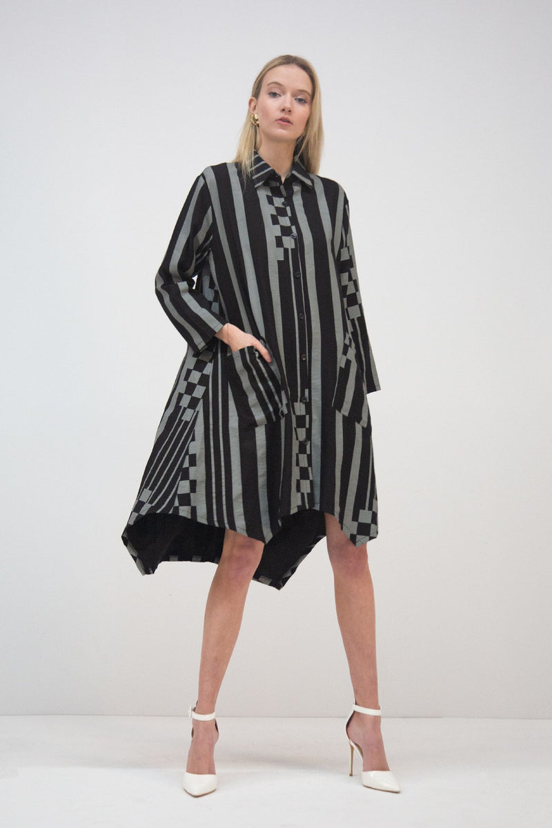 Button Down Oversized Stripe Dress - Shop Beulah Style