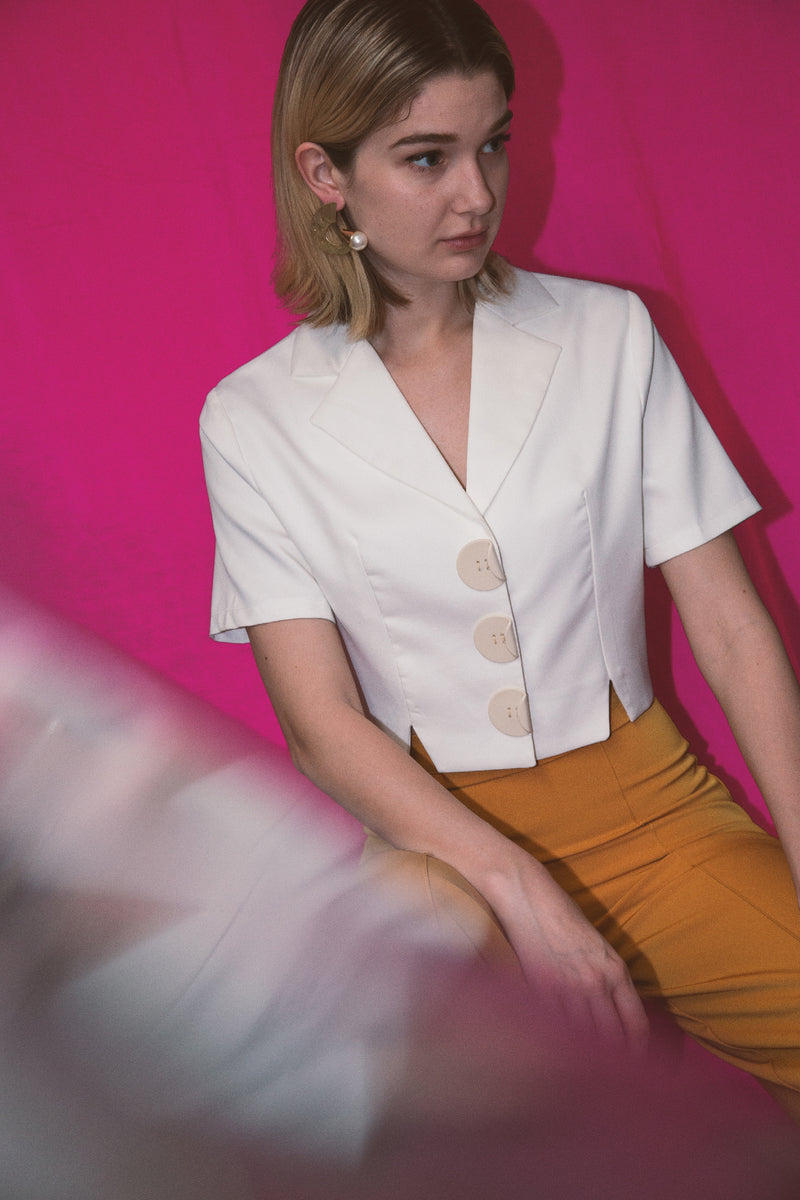 Cropped Blouse with Oversize Buttons