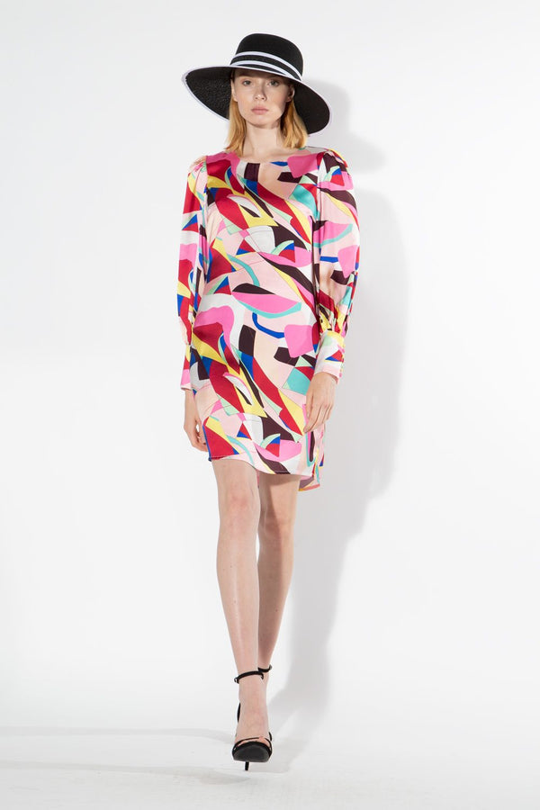 Pink Abstract Print Dress