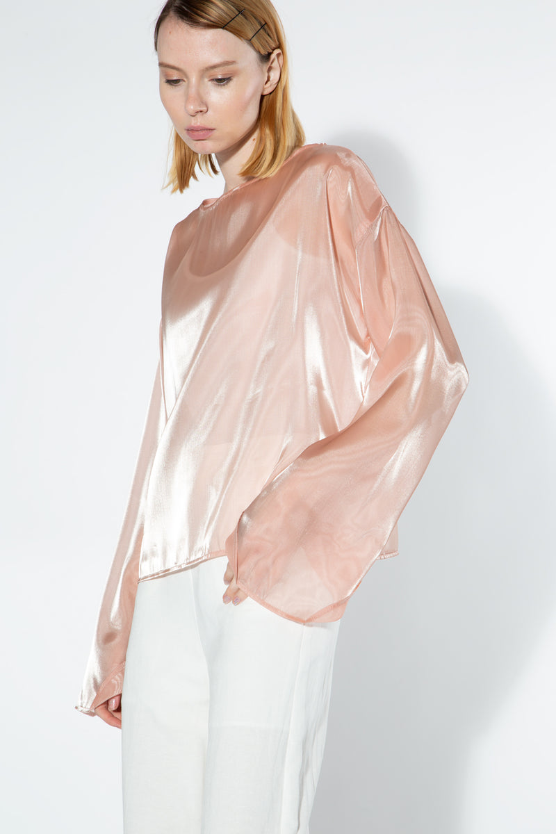Boat Neck Line Satin Top - Shop Beulah Style