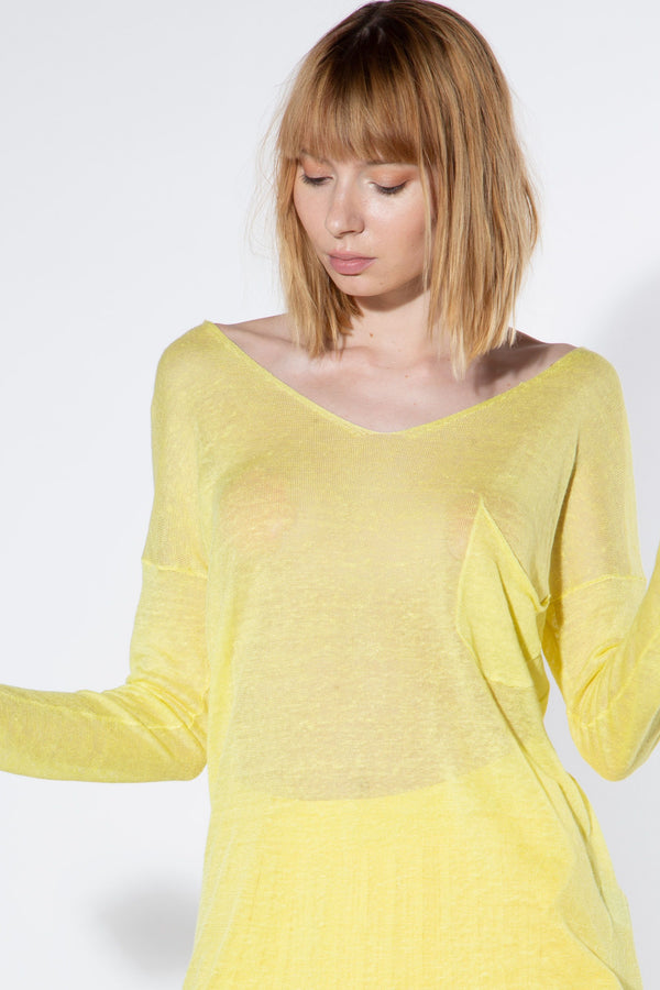 Sheer Round Neck Knit Pullover