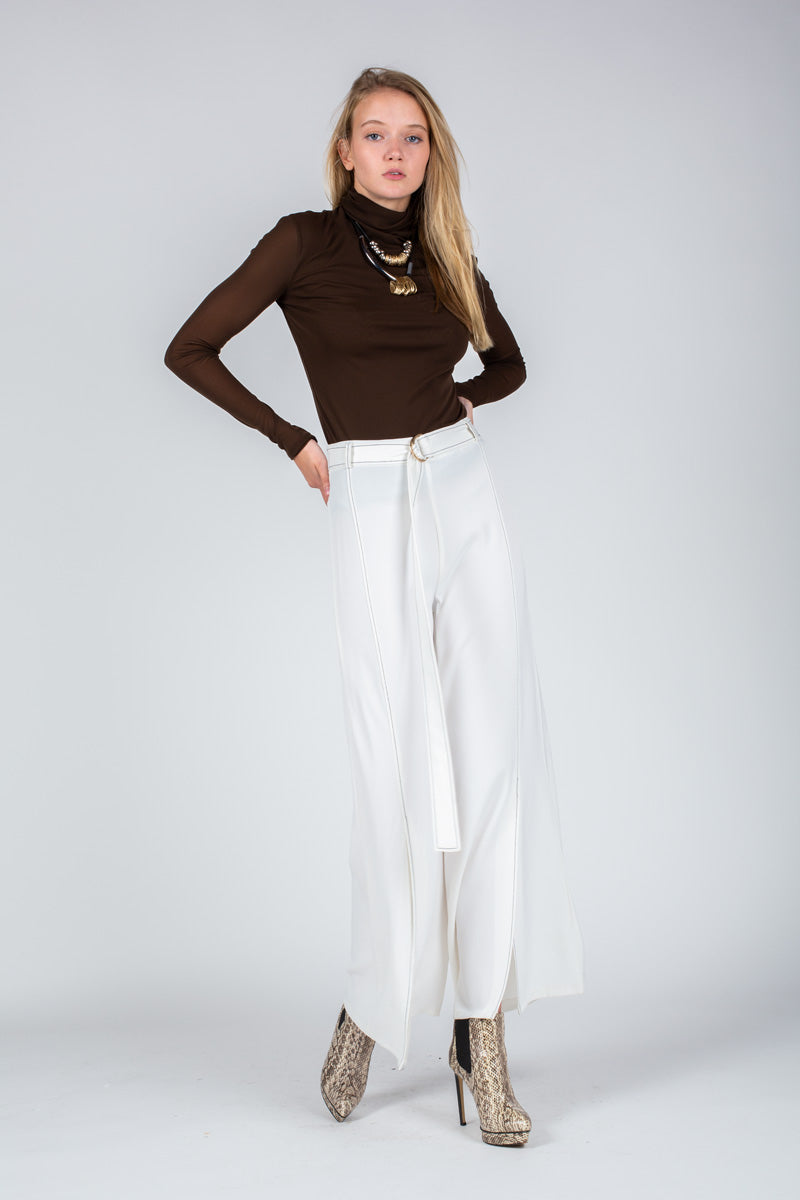 High Waisted Wide Pants with Belt - Shop Beulah Style