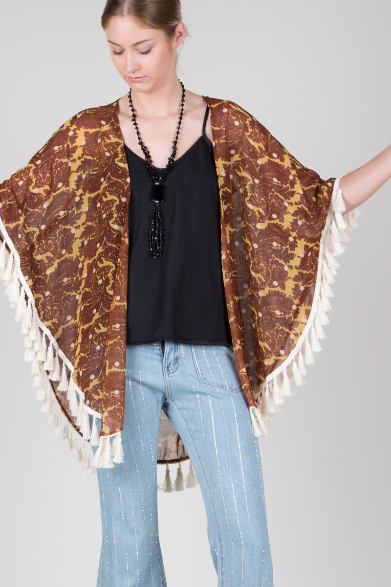 Open Front Coverup With Paisley Patterned Printed - Shop Beulah Style