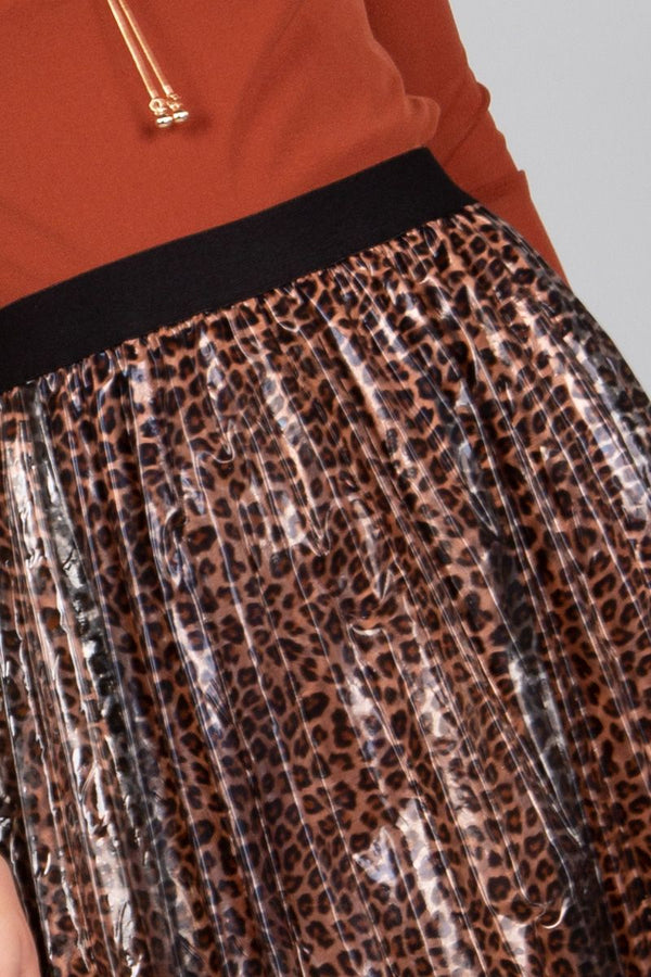Pleated Leopard Midi Skirt - Shop Beulah Style