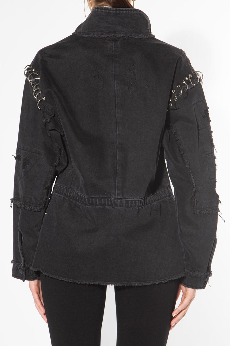 Ring Embellishment Distressed Denim Jacket - Shop Beulah Style