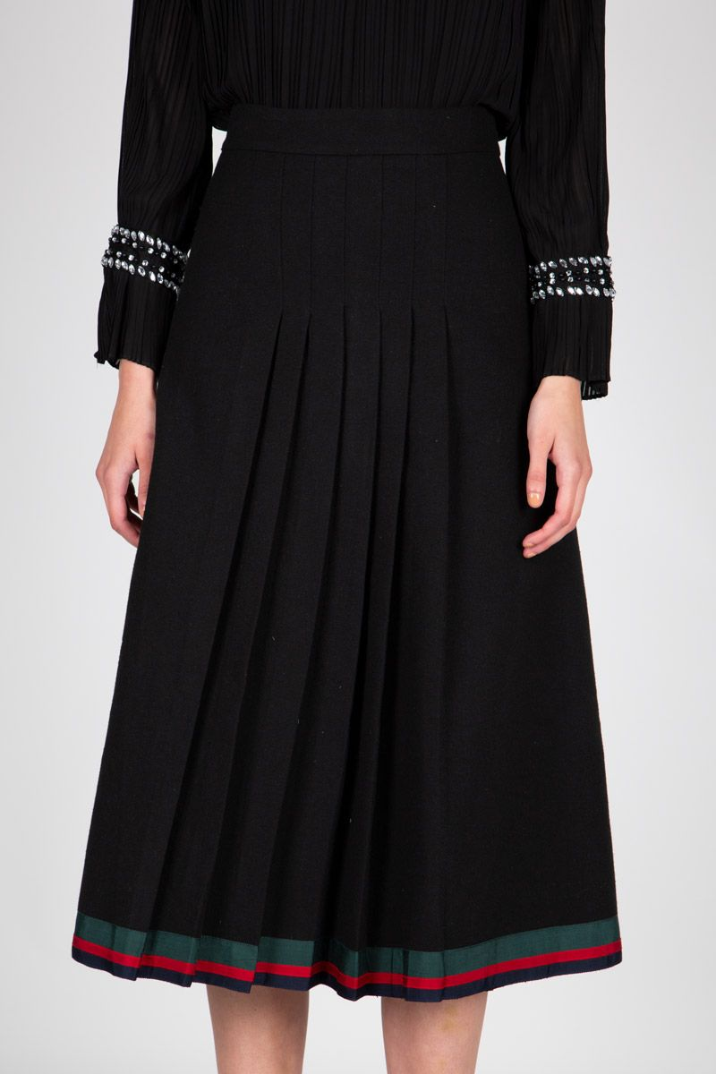 Contrast Band Pleated Midi Skirt - Shop Beulah Style