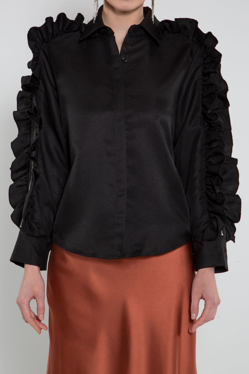 Ruffle Blouse with Zippers - Shop Beulah Style