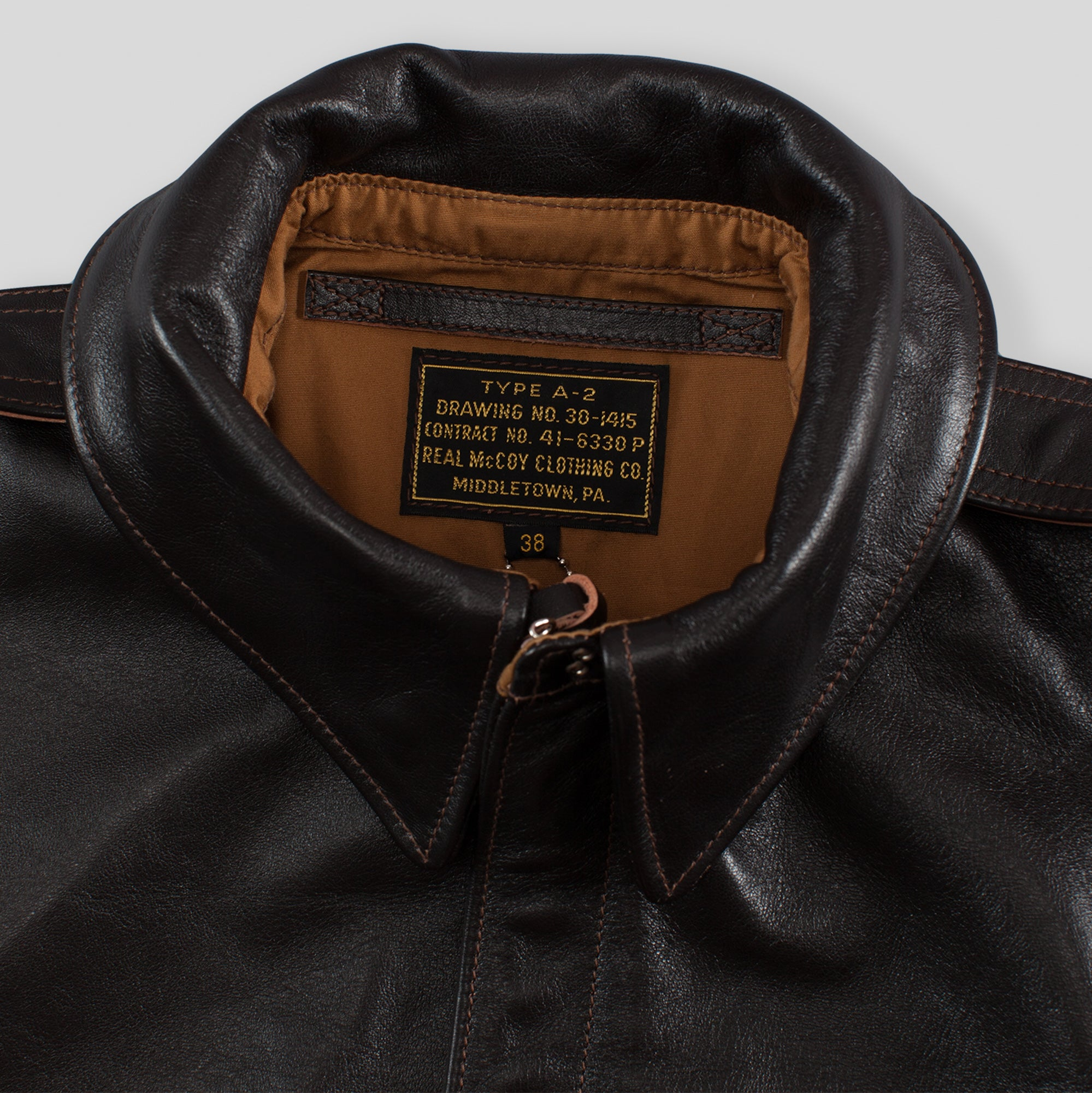 4027d86f3 The Real McCoy's Type A-2 Leather Jacket - Seal Brown MJ18101
