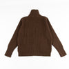 Merino Wool Full Zip Pocket Sweater - Natural Brown