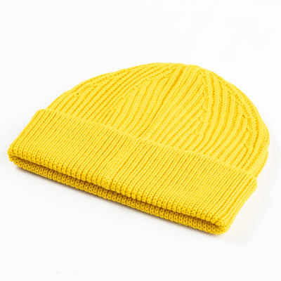 Short Merino Wool Beanie - Yellow