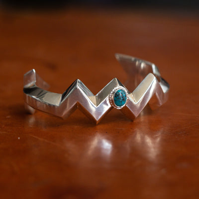 Arrow Sand Cast Cuff with Turquoise BR-304