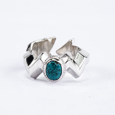 Arrows Sand Cast Ring with Turquoise R-246