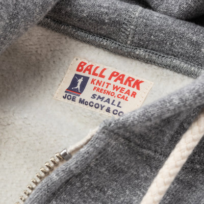 The Real McCoy's Ball Park Full Zip Hooded Sweatshirt - Medium Gray - Standard & Strange