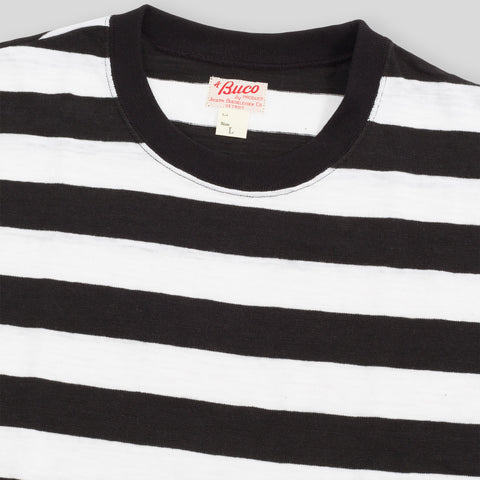 Buco Short Sleeve Stripe Tee - White/Black BC16007