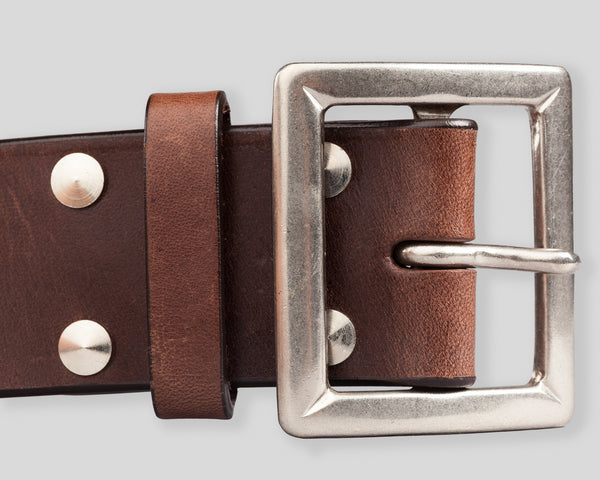 Buco Curved Horsehide Leather Belt - Brown