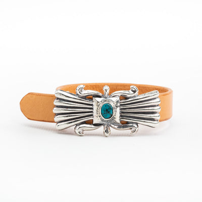 Butterfly Sandcast Cuff - Leather/Turquoise BR-237