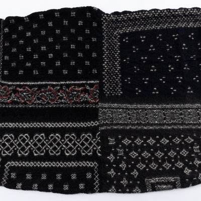 Compressed Wool Scarf - Black Bandanna Patchwork