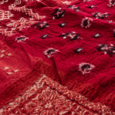Compressed Wool Scarf - Red Bandanna Patchwork