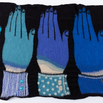 Compressed Wool Scarf - 5 Blue Hands - Black