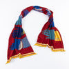 Compressed Wool Scarf - 5 Blue Hands - Red