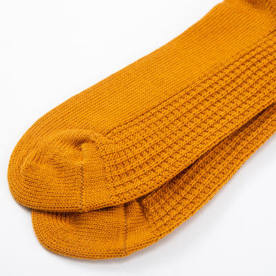 Cotton Waffle Socks - Dark Yellow