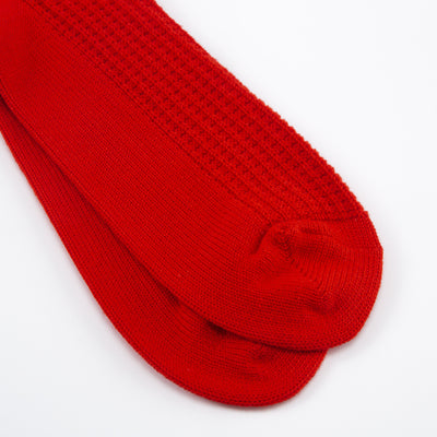 Cotton Waffle Socks - French Red