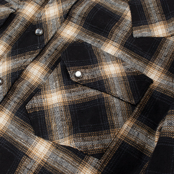 Dawson Heavy Flannel Shirt - Black/Brown/Beige Check
